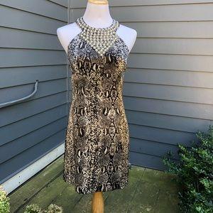 Laundry by Shelli Segal Snake Print Halter Dress